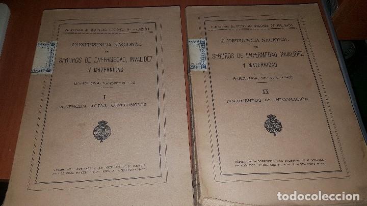 CONFERENCIA NACIONAL DE SEGUROS DE ENFERMEDAD, INVALIDEZ Y MATERNIDAD, 2 TOMOS, BARCELONA 1922 (Libros Antiguos, Raros y Curiosos - Ciencias, Manuales y Oficios - Derecho, Economía y Comercio)