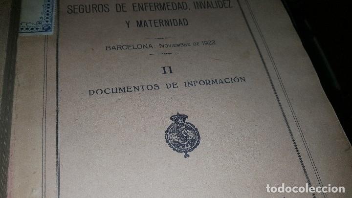 Libros antiguos: Conferencia nacional de seguros de enfermedad, invalidez y maternidad, 2 tomos, barcelona 1922 - Foto 3 - 173834778
