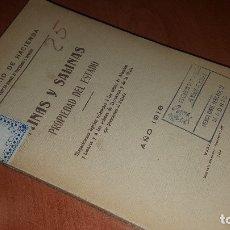 Libros antiguos: MINAS Y SALINAS PROPIEDAD DEL ESTADO, AÑO DE 1916..DISPOSICIONES LEGALES REFERENTES A LAS MINAS DE... Lote 173865507