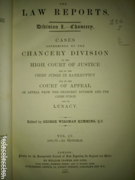 Libros antiguos: Libro LAW REPORTS 1876-1877 CHANCERY DIVISION. VOLUMEN 4 - Foto 1 - 174183317