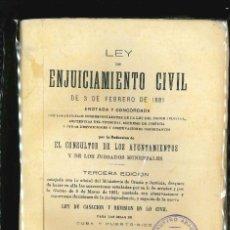 Libros antiguos: LEY DE ENJUICIAMIENTO CIVIL 3 FEBRERO 1881. Lote 175087670