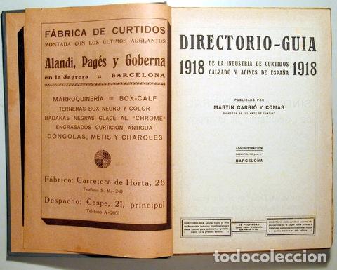 Libros antiguos: CARRIÓ Y COMAS, Martín - DIRECTORIO GUIA INDUSTRIA CURTIDOS, CALZADO Y AFINES DE ESPAÑA - 1918 - Foto 4 - 176043305