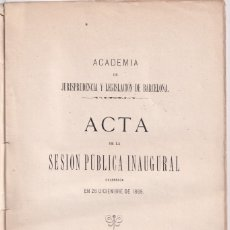Libros antiguos: ACADEMIA DE JURISPRUDENCIA Y LEGISLACIÓN DE BARCELONA. ACTAS 1869. BARCELONA, 1875. Lote 177477779