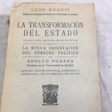 Libros antiguos: LA TRANSFORMACIÓN DEL ESTADO LEON DUGUIT MADRID, S/F (1910) TRAD. ADOLFO POSADA . Lote 177868667