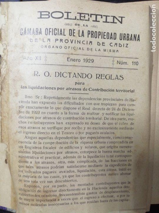 Libros antiguos: BOLETIN DE LA CAMARA OFICIAL DE LA PROPIEDAD URBANA DE CADIZ, DESDE EL Nº110 HASTA Nº189. 1929-1935 - Foto 2 - 178651633