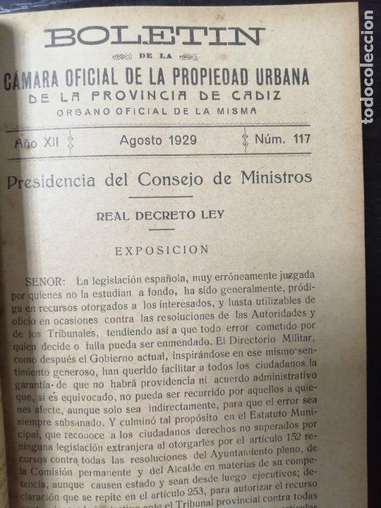 Libros antiguos: BOLETIN DE LA CAMARA OFICIAL DE LA PROPIEDAD URBANA DE CADIZ, DESDE EL Nº110 HASTA Nº189. 1929-1935 - Foto 3 - 178651633