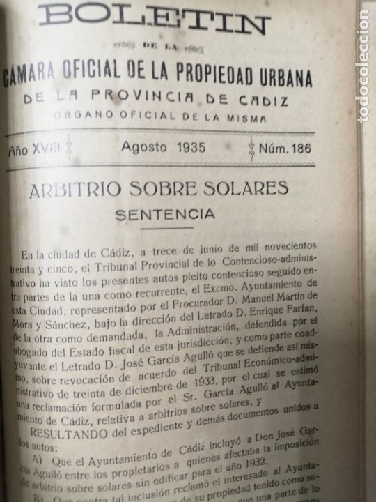 Libros antiguos: BOLETIN DE LA CAMARA OFICIAL DE LA PROPIEDAD URBANA DE CADIZ, DESDE EL Nº110 HASTA Nº189. 1929-1935 - Foto 4 - 178651633