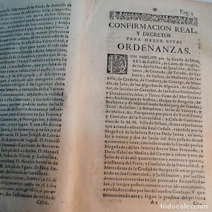 Libros antiguos: ORDENANZAS DE LA ILUSTRE UNIVERSIDAD Y CASA DE CONTRATACION DE LA M N Y M L VILLA DE BILBAO ... 1738 - Foto 3 - 179089320
