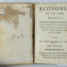 Libros antiguos: ECONOMÍA DE LA VIDA HUMANA-JOSEPH MÉNDEZ DEL TERMO-ED.THOMAS PIFERRER, 1765. Lote 180032970