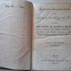 Libros antiguos: 83 LEYES DE TORO POR D.SANCHO DE LLAMAS Y MOLINA. IMPRENTA DE REPULLES, 1.827. 2 TOMOS EN 1. . Lote 180173886