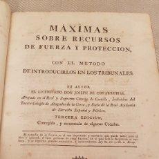 Libros antiguos: LIBRO SIGLO XVIII 1788 RECURSOS DE FUERZA Y PROTECCION PERGAMINO MANISCRITO. Lote 182326265