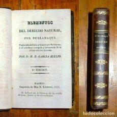 Libros antiguos: BURLAMAQUI. ELEMENTOS DEL DERECHO NATURAL. - 1837. Lote 183266197