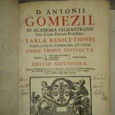 Libros antiguos: IN ACADEMIA SALMANTICENSI JURIS CIVILIS PRIMARII PROFESSORIS...GOMEZII, D. ANTONII. 1744.. Lote 183293448