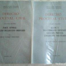 Libros antiguos: DERECHO PROCESAL CIVIL 2 TOMOS E GÓMEZ ORBANEJA Y V HERCE QUEMADA 1975. Lote 183615583