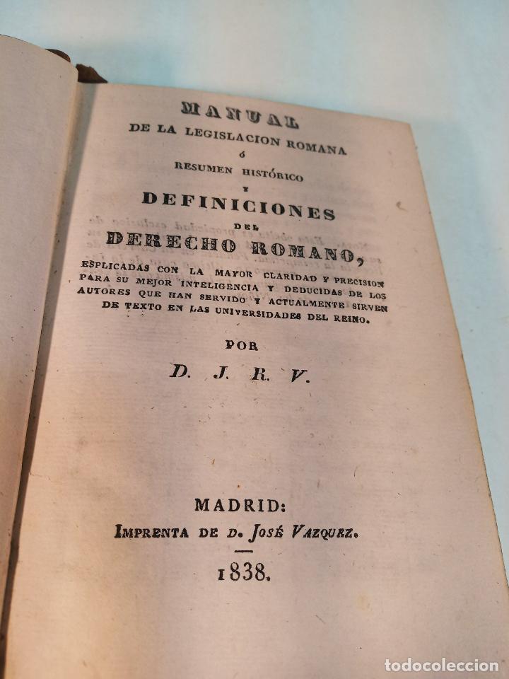 Libros antiguos: Manual de la legislación romana ó resumen histórico y definiciones del derecho romano. Madrid. 1838. - Foto 2 - 184089077