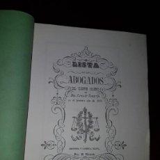 Libros antiguos: LISTA DE LOS ABOGADOS DEL ILUSTRE COLEGIO DE SANTA CRUZ DE TENERIFE EN EL AÑO DE 1853. Lote 186185656