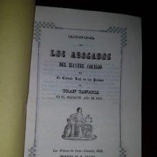 Libros antiguos: LISTA DE LOS ABOGADOS DEL ILUSTRE COLEGIO DE LA CIUDAD DE LAS PALMAS DE GRAN CANARIA EN 1852. Lote 186186248