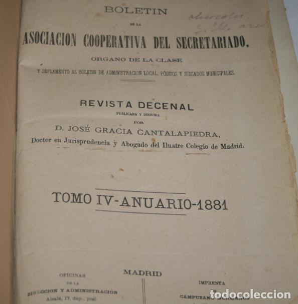 Libros antiguos: BOLETIN DEL SECRETARIADO, AÑOS 1881 1882 ASOCIACION COOPERATIVA DEL SECRETARIADO, LIBRO ANTIGUO - Foto 3 - 188432961