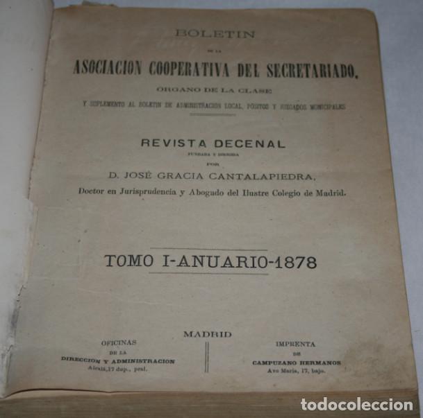 Libros antiguos: BOLETIN DEL SECRETARIADO, AÑOS 1878 1879 1880 ASOCIACION COOPERATIVA DEL SECRETARIADO, LIBRO ANTIGUO - Foto 4 - 188433568