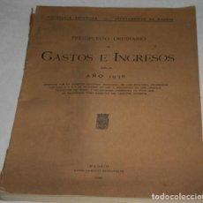 Libros antiguos: GASTOS E INGRESOS PARA EL AÑO 1936, REPULICA ESPAÑOLA, AYUNTAMIENTO DE MADRID, LIBRO ANTIGUO. Lote 188518198