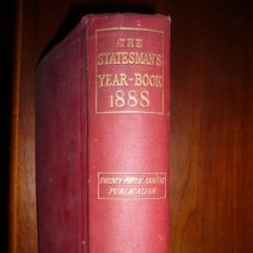 Libros antiguos: THE STATESMAN'S YEAR- BOOK 1888 J.SCOTT KELTIE LONDON TWENTY -FIFTH ANNUAL PUBLICATION . Lote 189521993