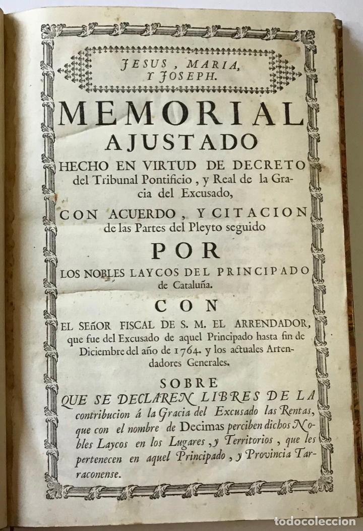 Libros antiguos: MEMORIAL PLEYTO NOBLES LAICOS DE CATALUÑA. IMPUESTOS. - Foto 2 - 189546728