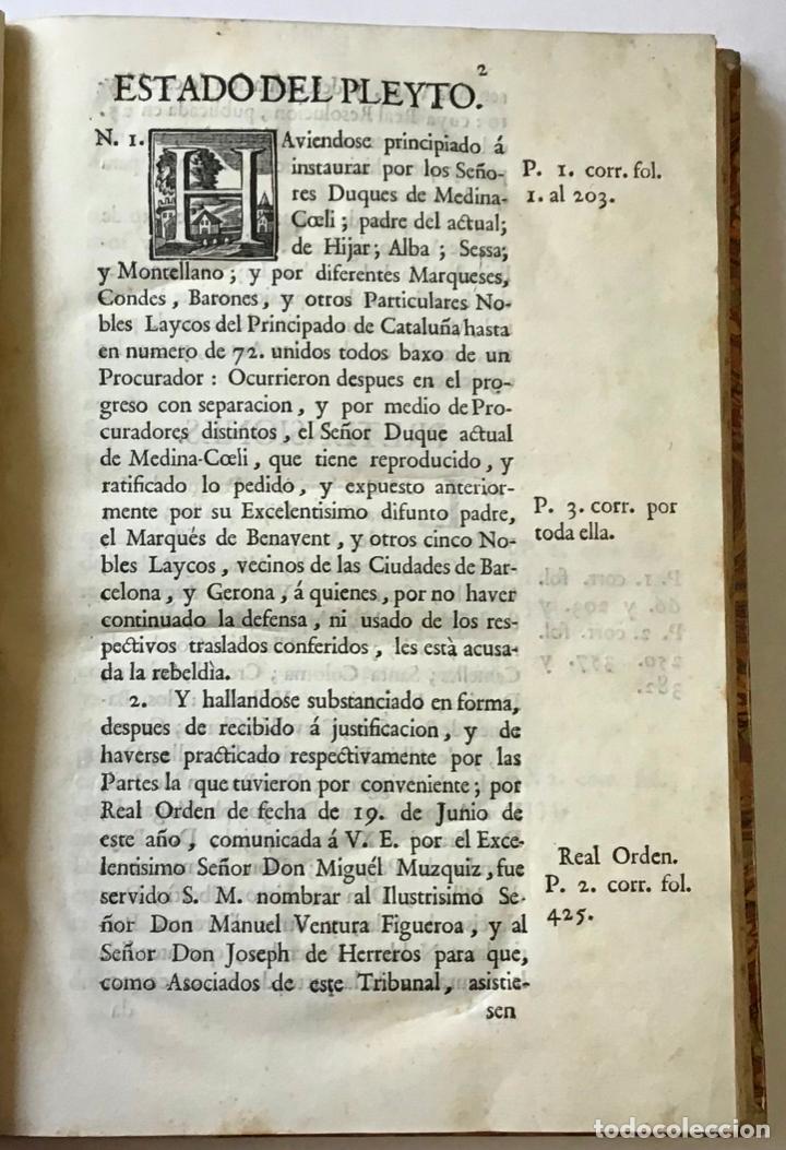 Libros antiguos: MEMORIAL PLEYTO NOBLES LAICOS DE CATALUÑA. IMPUESTOS. - Foto 3 - 189546728