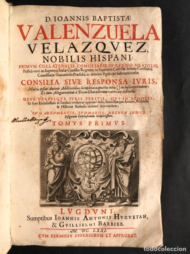 Libros antiguos: 1671 Derecho - Cuenca - Pergamino - Consilia sive responsa ivris - Valenzuela Velázquez - Foto 3 - 190805128