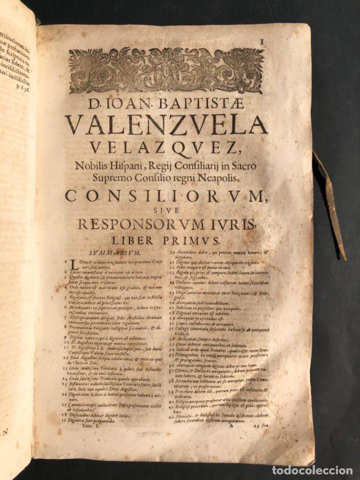 Libros antiguos: 1671 Derecho - Cuenca - Pergamino - Consilia sive responsa ivris - Valenzuela Velázquez - Foto 10 - 190805128