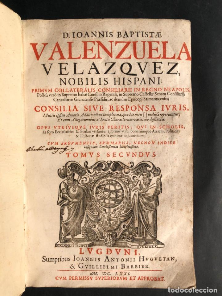 Libros antiguos: 1671 Derecho - Cuenca - Pergamino - Consilia sive responsa ivris - Valenzuela Velázquez - Foto 19 - 190805128