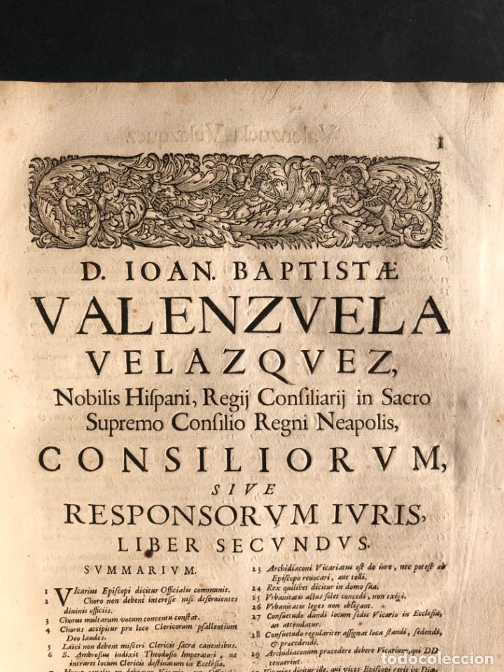 Libros antiguos: 1671 Derecho - Cuenca - Pergamino - Consilia sive responsa ivris - Valenzuela Velázquez - Foto 24 - 190805128