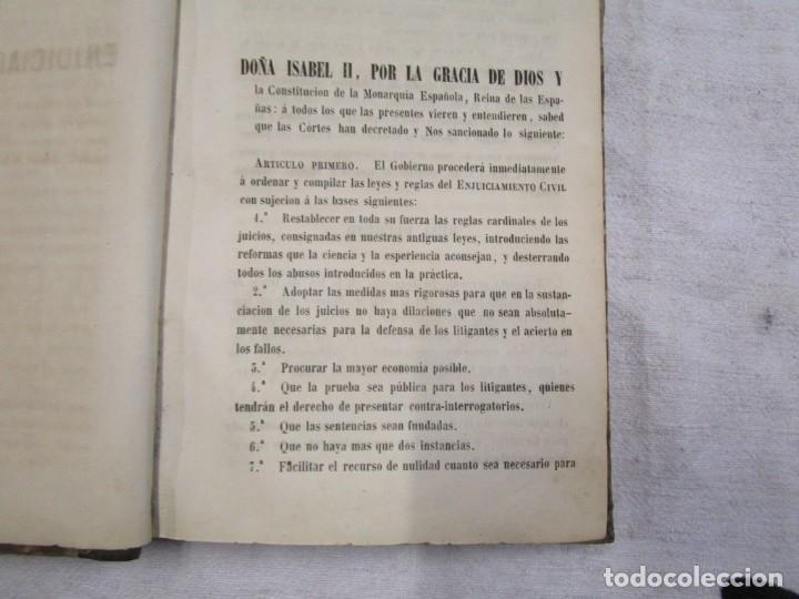 Libros antiguos: DERECHO CIVIL - LEY DE ENJUICIAMIENTO CIVIL - EDICION OFICIAL 1855 282pag 21cm + INFO - Foto 4 - 190873766