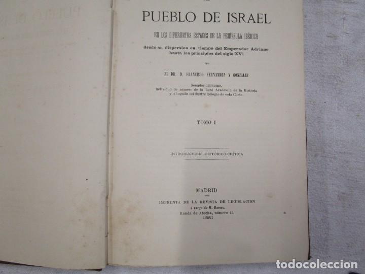 Libros antiguos: INSTITUCIONES JURIDICAS DE LOS HEBREOS ESPAÑOLES - F. F. GONZALEZ - MADRID 1881+ INFO - Foto 3 - 190875427