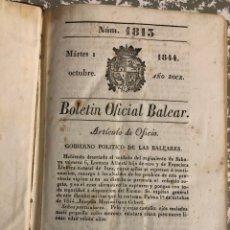 Libros antiguos: BOLETÍN OFICIAL BALEAR, 1844 (PRECIO DEL VINO, DISCURSO DE ISABEL II, AGUAS TERMALES, MAESTROS,...). Lote 190877487