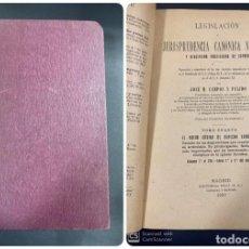 Libros antiguos: LEGISLACION Y JURISPRUDENCIA CANONICA NOVISIMA. JOSE M. CAMPOS. TOMO CUARTO. MADRID, 1921. PAGS: 299. Lote 191579392