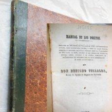 Libros antiguos: MANUAL DE PÓSITOS. VILLALBA BENIGNO. 1862. Lote 191960580