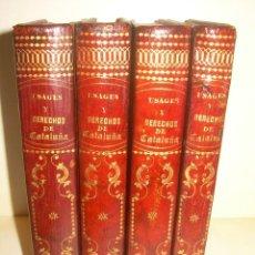 Libros antiguos: IMPORTANTE OBRA EN 4 TOMOS..USAGES DE CATALUÑA Y DEMAS DERECHOS....AÑO 1832. Lote 194121355