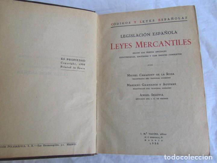 Libros antiguos: Legislación española Leyes mercantiles Carazony Granados Segovia 1935 - Foto 9 - 194218363