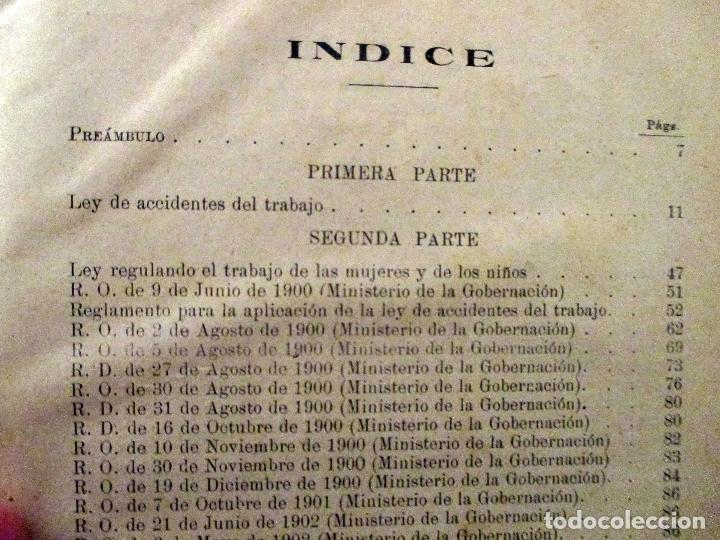Libros antiguos: MANUEL DEL NIDO Y TORRES. LEY DE ACCIDENTES DEL TRABAJO. 1911. SEVILLA. DERECHO. - Foto 5 - 194322843