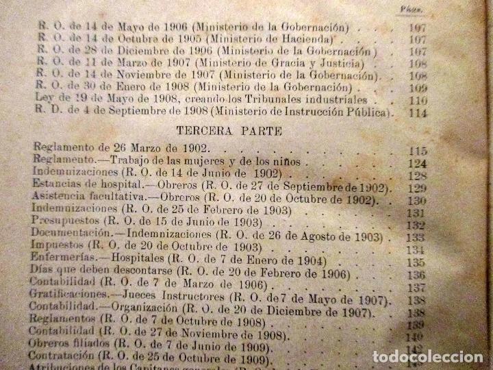 Libros antiguos: MANUEL DEL NIDO Y TORRES. LEY DE ACCIDENTES DEL TRABAJO. 1911. SEVILLA. DERECHO. - Foto 7 - 194322843