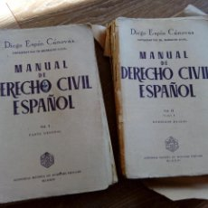 Libros antiguos: MANUAL DE DERECHO CIVIL VOL. I Y II, DIEGO ESPÍN CÁNOVAS, ED. REVISTA DE DERECHO PRIVADO. Lote 194387217