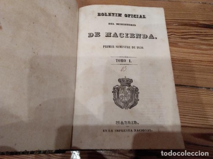 Libros antiguos: Boletín oficial del ministerio de hacienda 1850 Tomo I - Foto 2 - 194505645