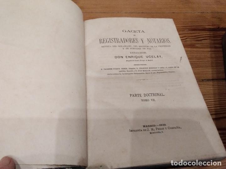 Libros antiguos: Gaceta de registradores y notarios parte doctrinal 1869 1870 - Foto 2 - 194507026