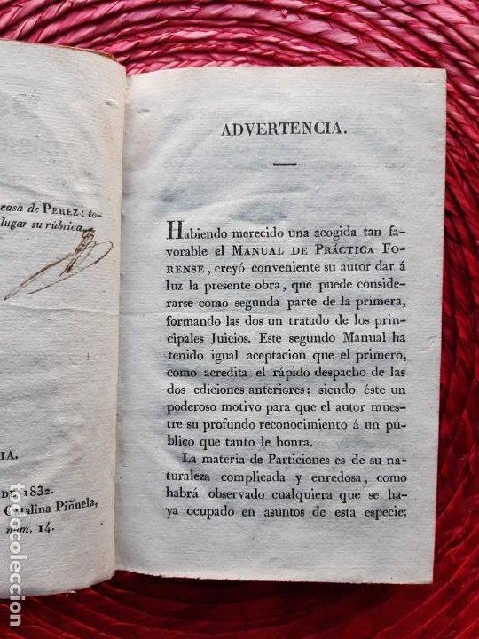 Libros antiguos: Manual teórico-practico de los juicios de inventario 1832 - Foto 7 - 194586237