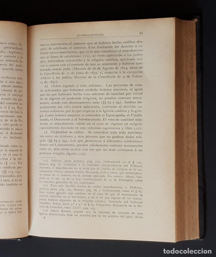 Libros antiguos: DERECHO MATRIMONIAL DE LOS ESTADOS EUROPEOS Y SUS COLONIAS, TOMO 1. J. HAHN. BARCELONA- 1907 - Foto 8 - 194589976