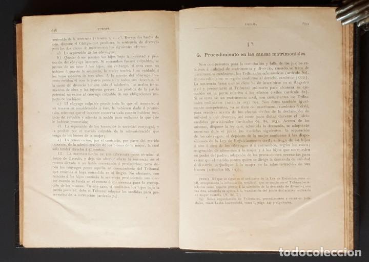 Libros antiguos: DERECHO MATRIMONIAL DE LOS ESTADOS EUROPEOS Y SUS COLONIAS, TOMO 1. J. HAHN. BARCELONA- 1907 - Foto 18 - 194589976