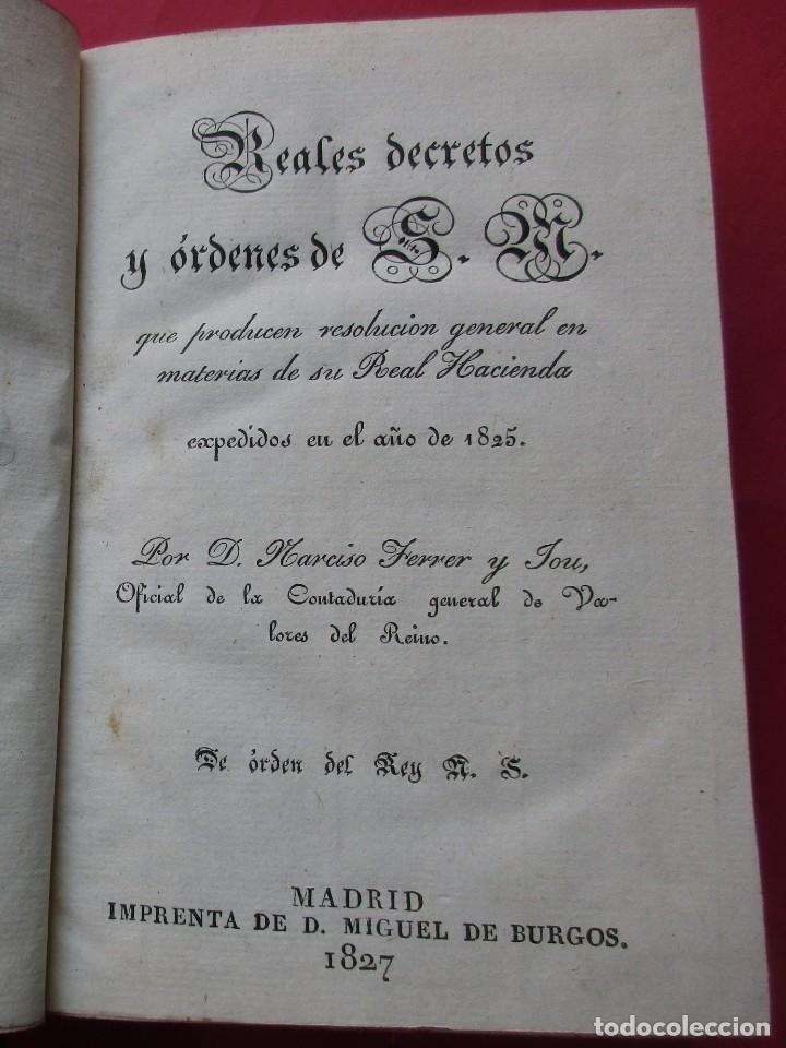 Libros antiguos: GUIA DE LA REAL HACIENDA. PARTE LEGISLATIVA. REALES DECRETOS Y ÓRDENES. MADRID 1827. HOLANDESA. - Foto 3 - 194591997