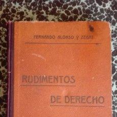 Libros antiguos: RUDIMENTOS DE DERECHO 1916 FERNANDO ALONSO Y ZEGRI. Lote 194862171