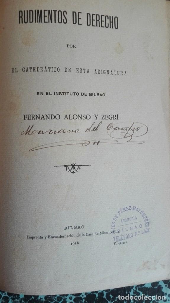 Libros antiguos: Rudimentos de derecho 1916 Fernando Alonso y Zegri - Foto 2 - 194862171