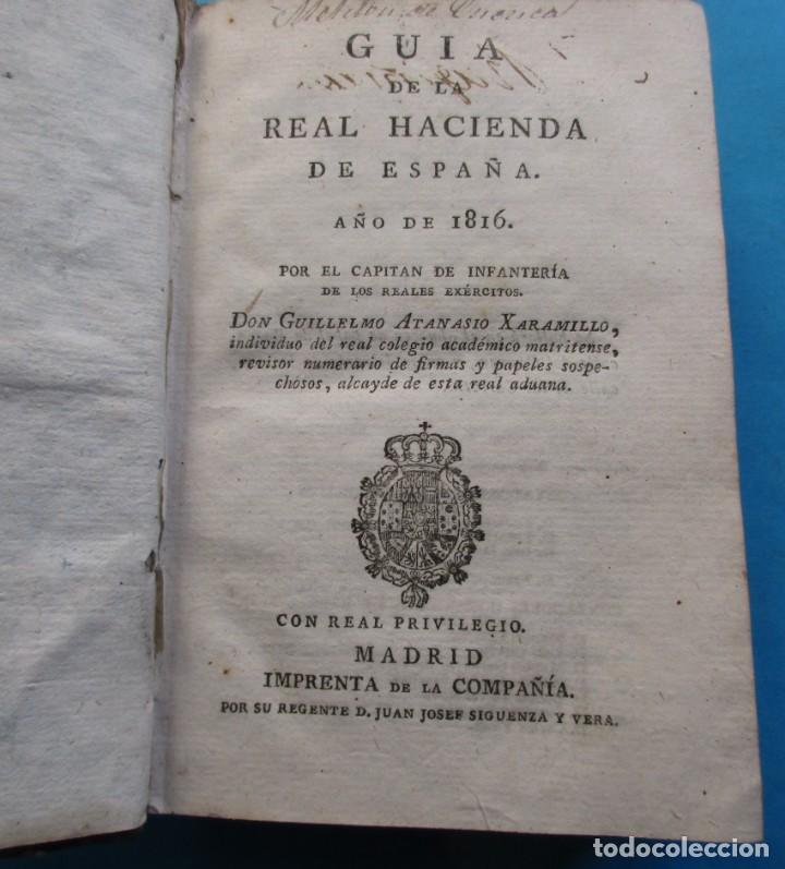 Libros antiguos: GUIA DE LA HACIENDA PÚBLICA DE ESPAÑA AÑO 1816.ALEJANDRO ATANASIO JARAMILLO.PIELxvi+. 94+288+119 PÁG - Foto 3 - 194862570